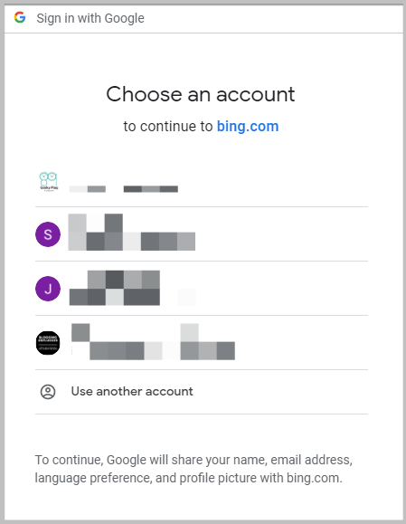 select a google account to sign up for bing webmaster tools