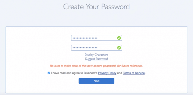 enter password for your bluehost web hosting account
