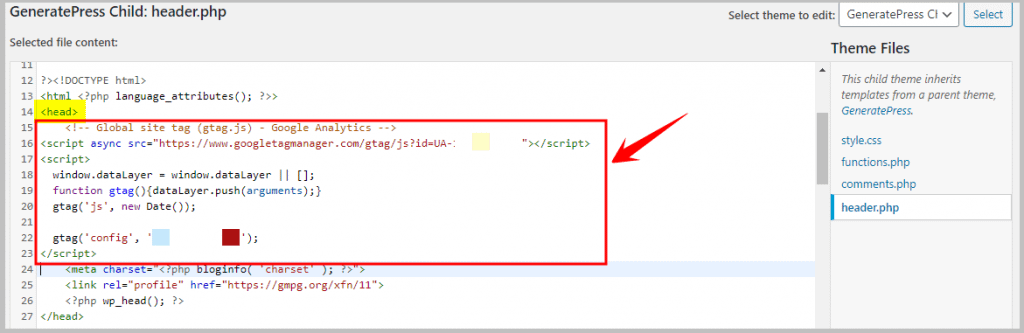 how to add Google Analytics tracking code in header.php