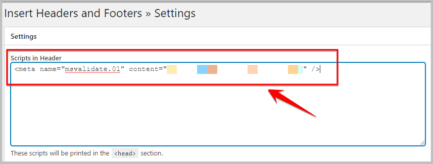 adding bing verification code using insert headers and footers plugin