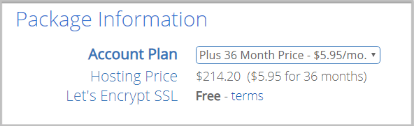 Bluehost shared hosting package information
