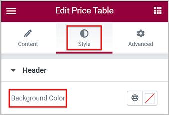 change background color of header using design system