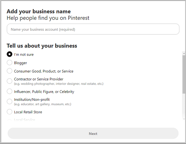 add your business name and select a category for your business