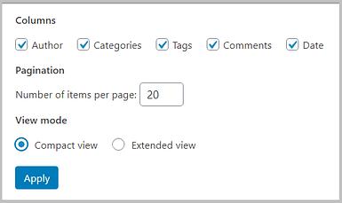 view modes in WordPress 5.5