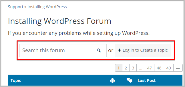 ask a query in wordpress forums