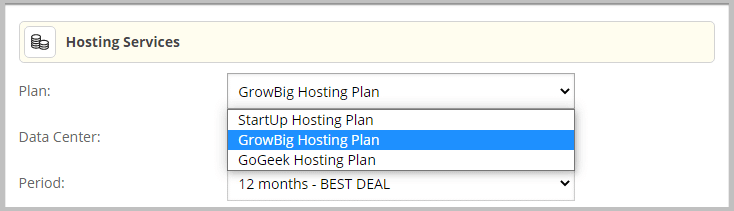 Change web hosting plan in SiteGround before purchase