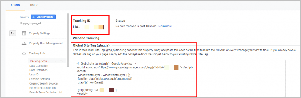 google analytics tracking ID and global site tag