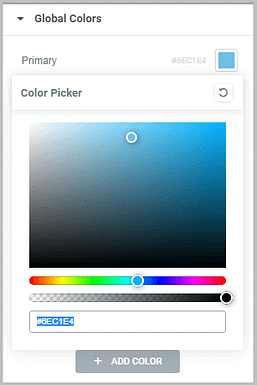 add a new global color in elementor