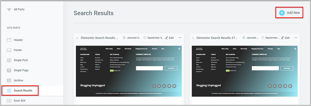 create new template in elementor 3.0 theme builder