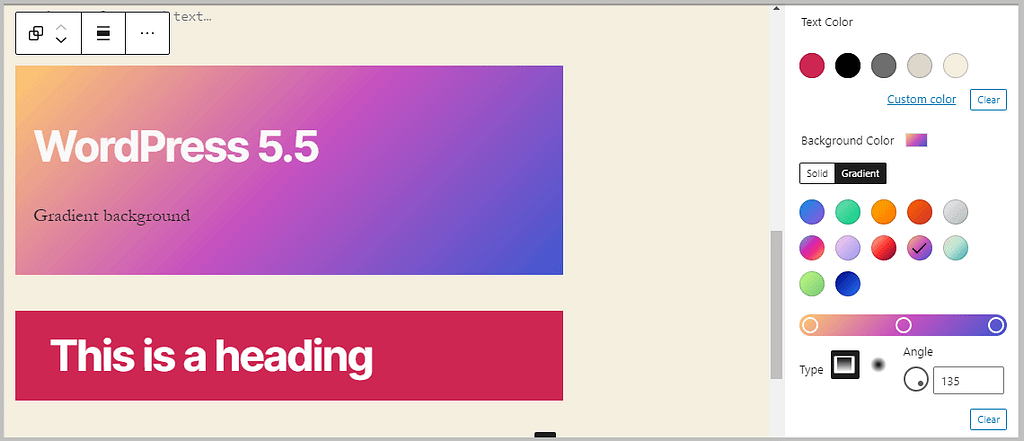 background color and gradient in WordPress 5.5