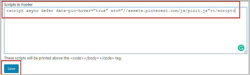 insert pinterest pin it button code using header and footer