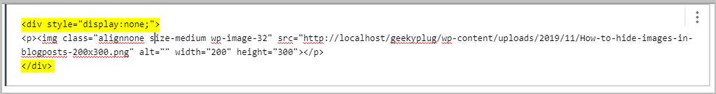 hide pin images using classic block