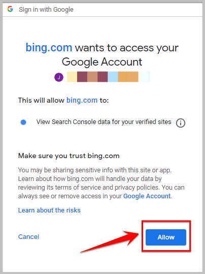 allow Bing to access search console for ownership verification