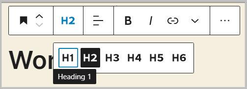 headings level change in WordPress 5.5
