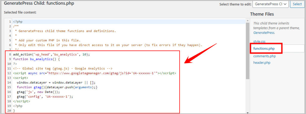 add google analytics tracking code in functions-php