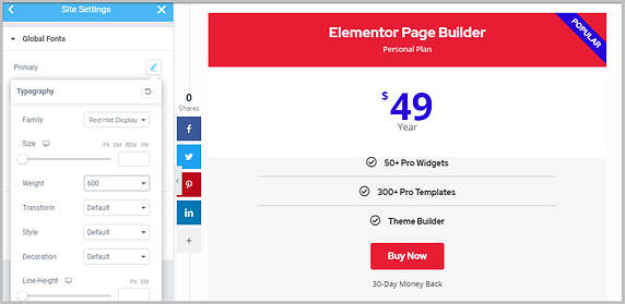 changing global fonts of pricing table