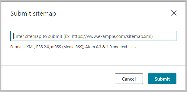 how to submit sitemap in bing