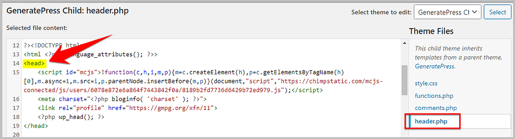 editing header.php file in wordpress