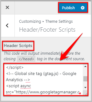 adding google analytics code in theme settings