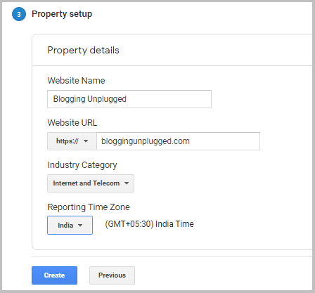 property setup in Google analytics
