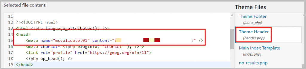 how to add bing verification code to header.php manually