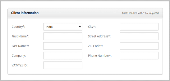 add client information on siteground