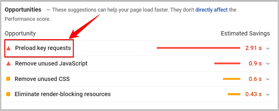 preload key requests in google page speed insights