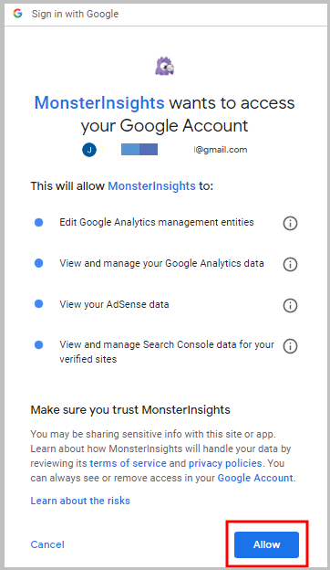 allow monster insights to access Google analytics data