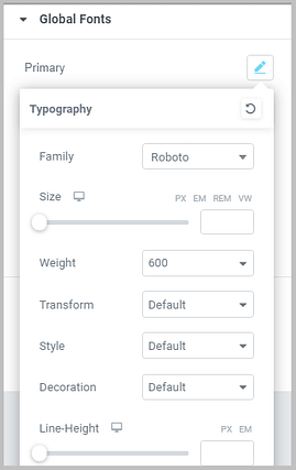edit font style in elementor