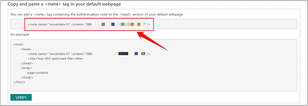 verify your website in bing using meta tags