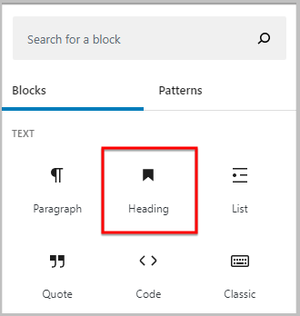 heading block icon change in WordPress 5.5