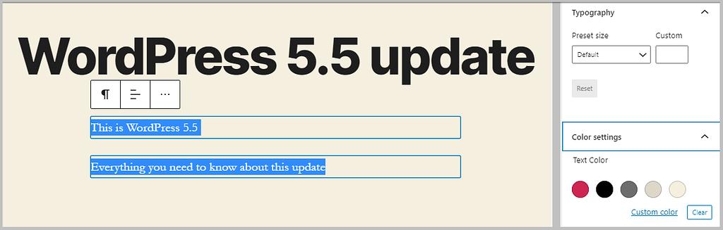 multiple block formatting in WordPress 5.5
