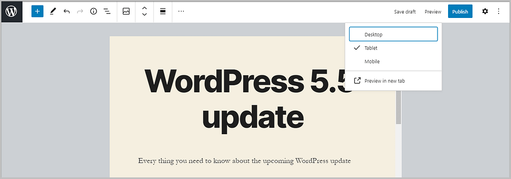 new device preview feature in WordPress 5.5