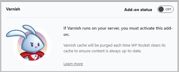 varnish add on by wp rocket