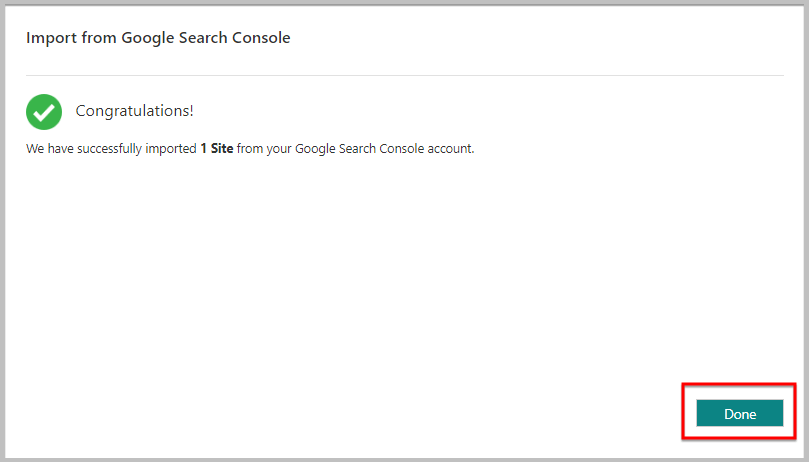 success message after importing a website from search console to bing
