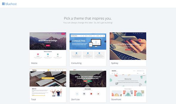 WordPress theme gallery by Bluehost