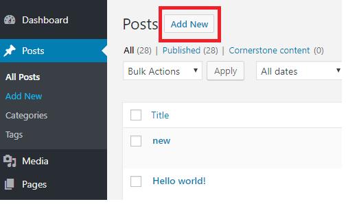 create new post in wordpress