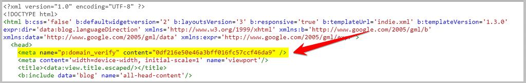 add pinterest site verification code in blogspot