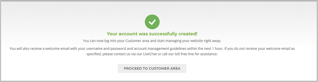 Account creation complete in SiteGround