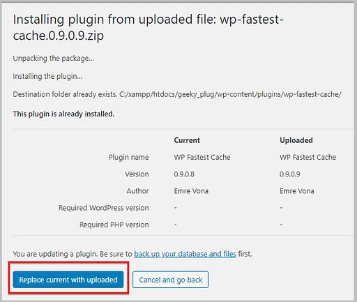 update plugins using zip file in WordPress 5.5