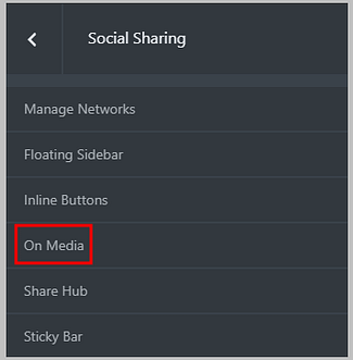 on media buttons in social snap