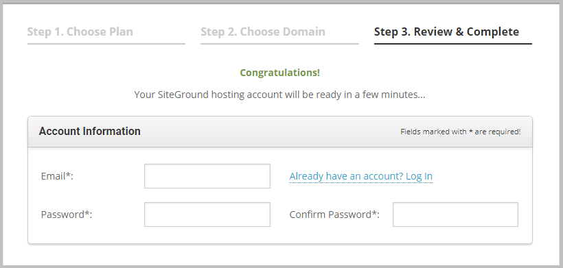 create an account on siteGround