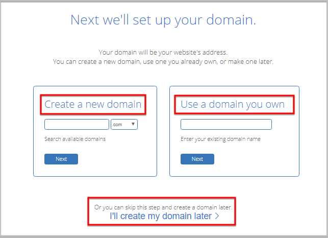 add or select a domain name in bluehost