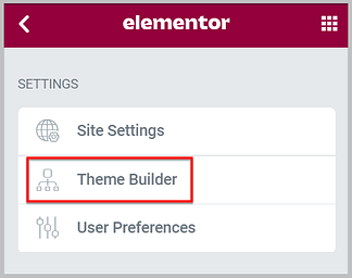 access theme builder from elementor editor