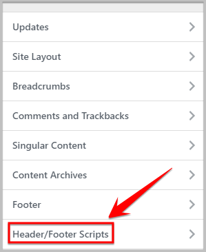 header and footer scripts settings in Genesis