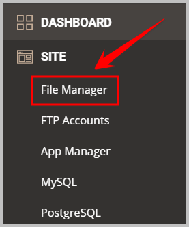 file manager in siteground
