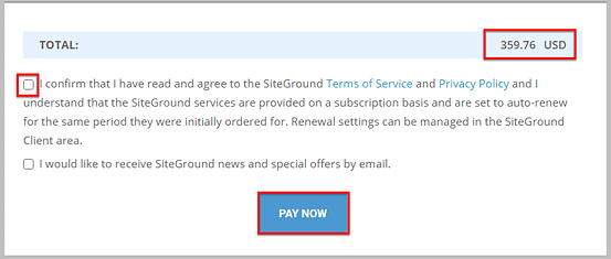 payment completing SiteGround