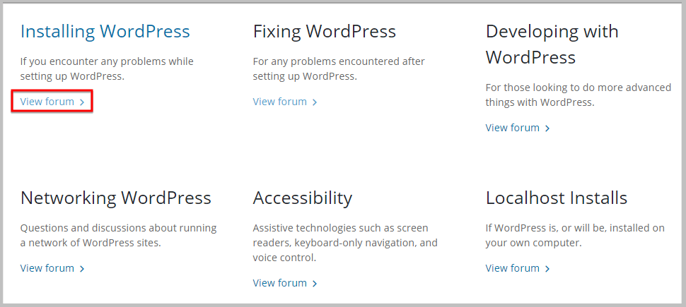 wordpress support forum categories