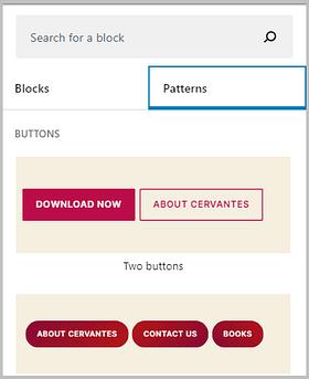 block patterns in WordPress 5.5